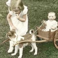 28 - Girl with dog pulling cart with doll in it