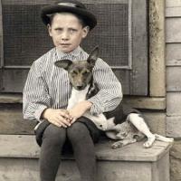 32 - Boy with dog