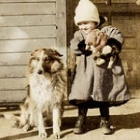 27 - Young girl with dog and piglet