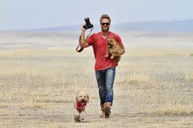 Casteel with two dogs